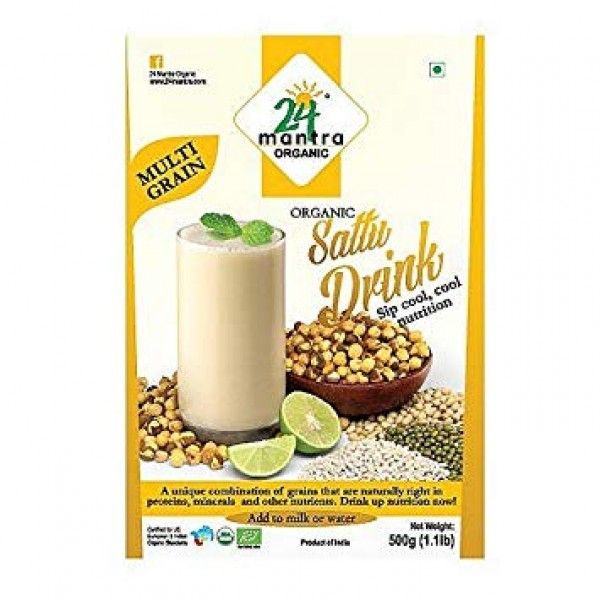 24 Mantra Organic Multi-Grain Sattu Mix 1.1 Lb / 500 Gms