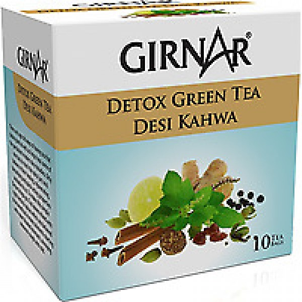 Girnar Green Tea Desi Kahwa 8.8 oz /25 Gms 10 Tea Bags