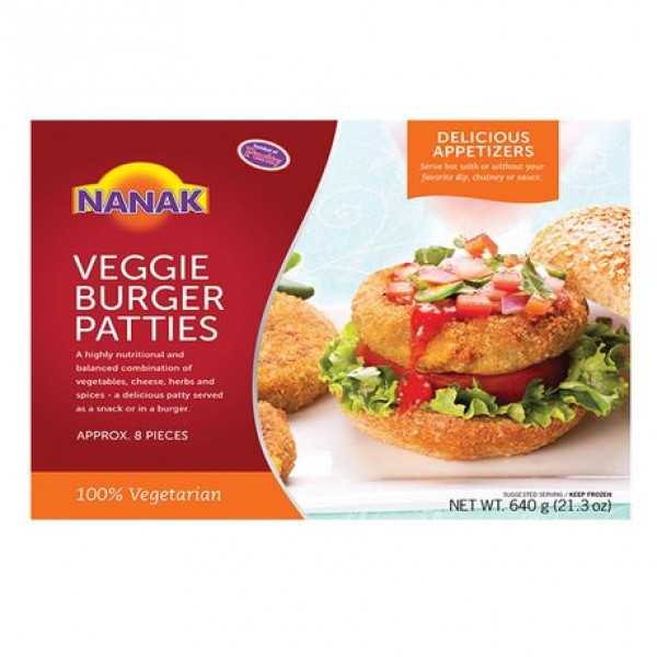 Nanak Veggie Burger Patties 8 Piece 640 Gms