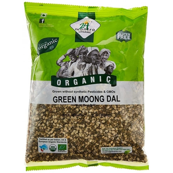 24 Mantra Organic Green Moong Dal Split 2 LB / 907 Gms