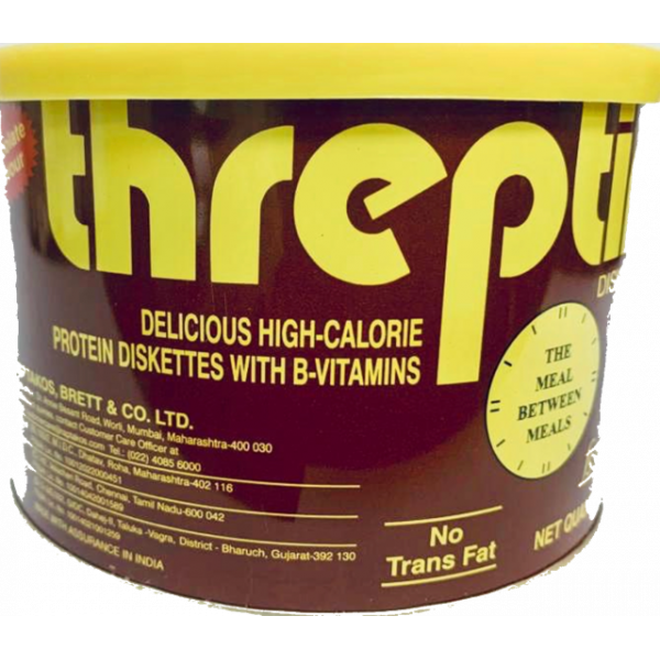 Threptin Delicious High Calorie Protein Diskettes with B-Vitamins Chocolate Flavour275 Gms