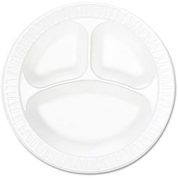 Dart Three  Compartment 9 Inches round foam plates/125 plates