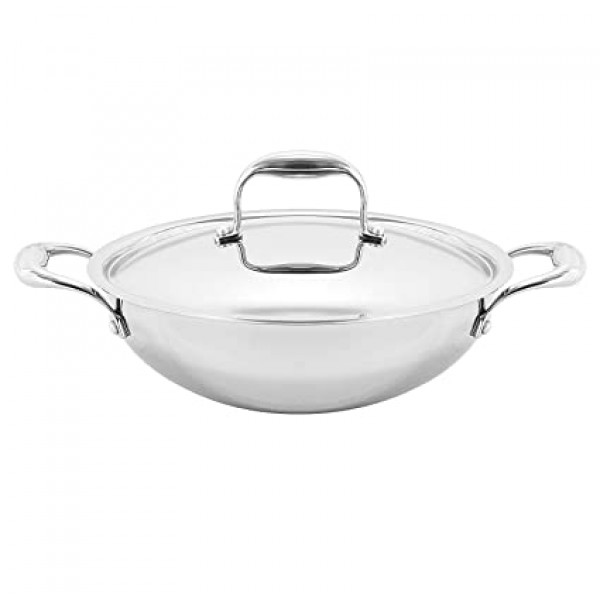 Vinod Stainless Steel Kadai with Lid 4.5 Liters /8.66 x 9.45 x 3.94 inches