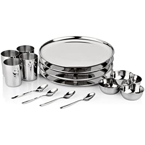 Vinod 8 pcs dinner set includes 4 Bowls,1 Glass,2 Spoons 1 Full Plate