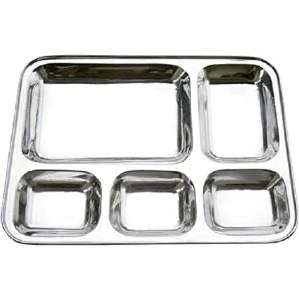 Stainless Steel Sectional Dinner plate (Stainless Steel, u shaped), set of 4 plates (Item Code 1637)