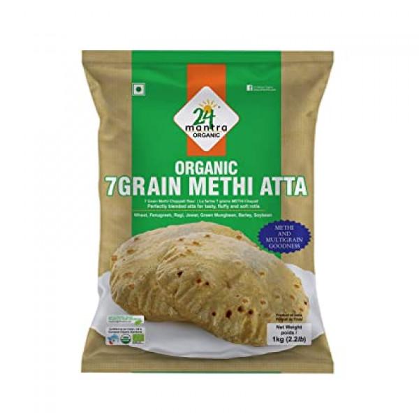 24 Mantra Organic 7 Grain Methi Atta 2.2 Lb / 1 Kg