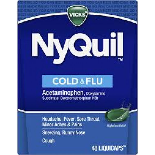 Vicks  Nyquil Cough, Cold and Flu Relief, - Sore Throat, Fever, and Congestion Relief (2 Tablets)