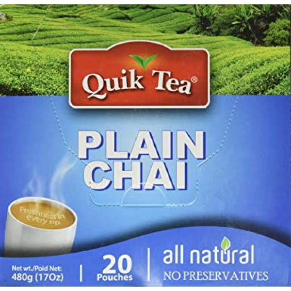 Quick Tea Plain Chai 17 OZ / 480 Gms 20 Pouches