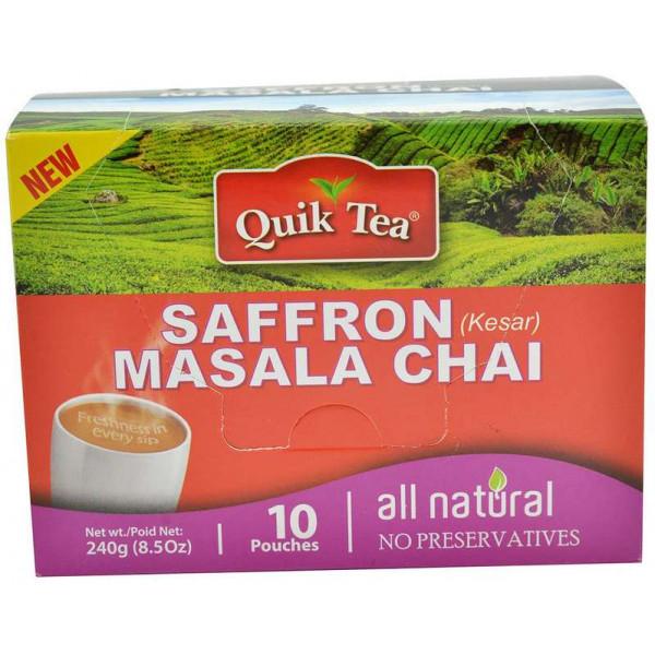 Quick Tea Saffron (Kesar) Masala Chai 8.5 oz / 240 Gms 10 Pouches