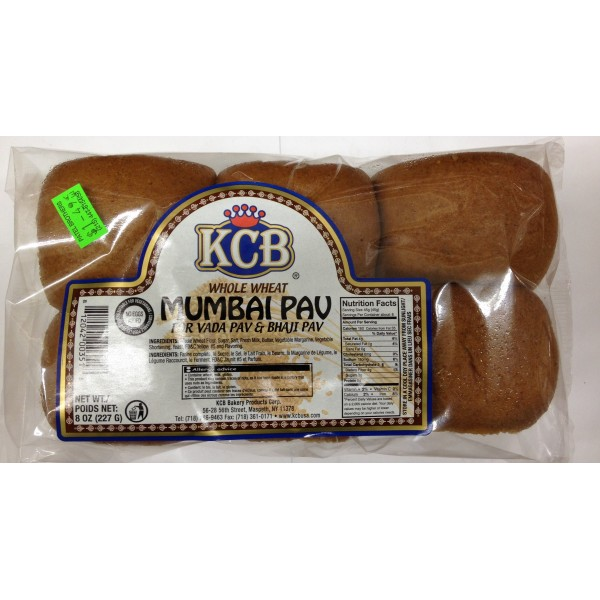 KCB Kashmir Crown Baking Whole Wheat Mumbai Pav 8 Oz / 227 Gms