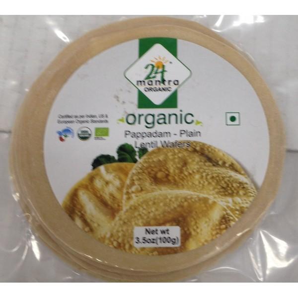 24 mantra Organic Pappadam Plain 3.5 Oz / 100 Gms