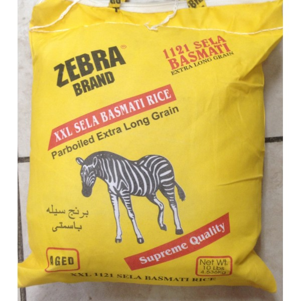 Zebra Brand Sela Basmati rice 10 LB / 4.5 KG