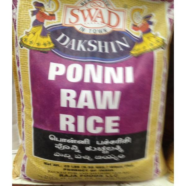 Swad Dakshin Ponni Raw Rice 20 LB / 9 KG