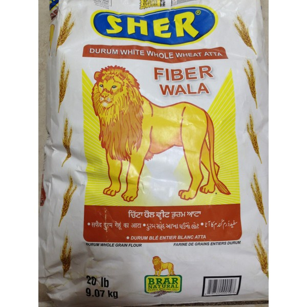 Sher Duram White Whole Wheat Atta 20 LB / 9 KG