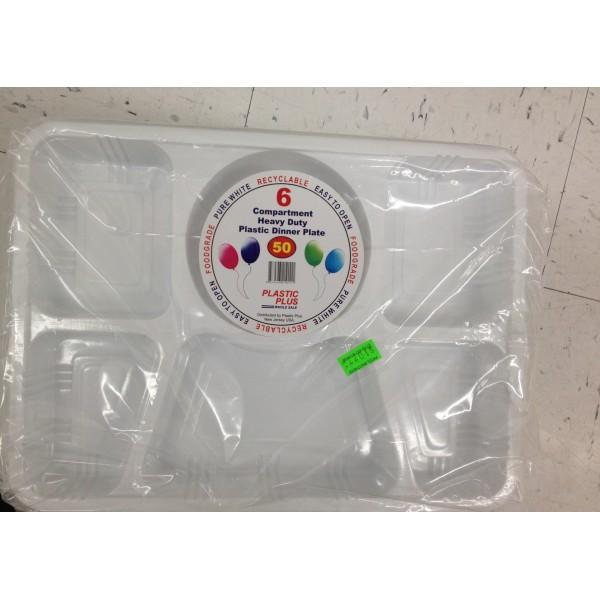 Plastic Plus 6 Compartment heavy Duty Plastic Dinner Plate 15 OZ / 4426 Gms