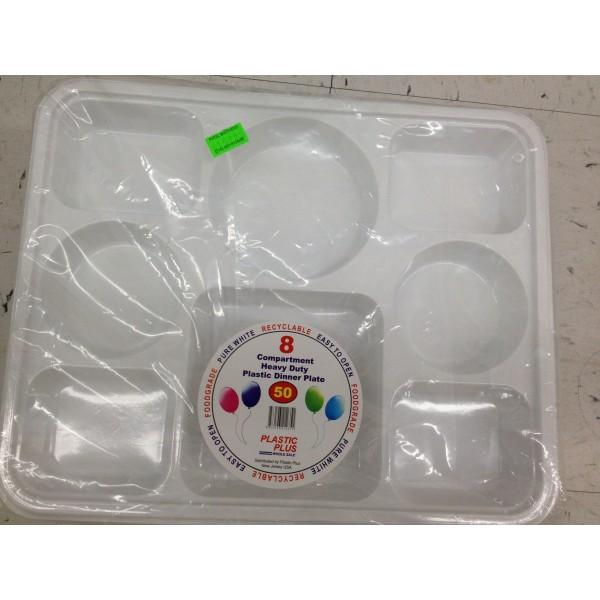 Plastic Plus 8 Compartment heavy Duty Plastic Dinner Plate 15 OZ / 426 Gms