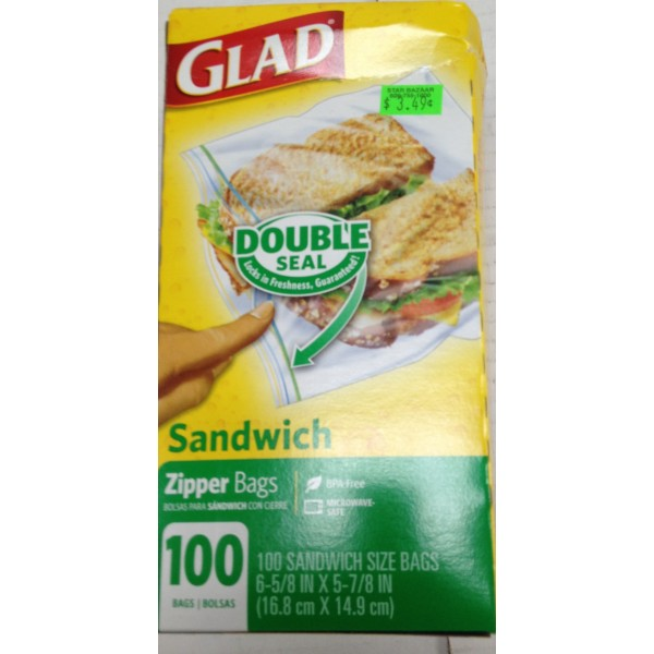 Glad Sandwich Zipper Bags OZ / Gms