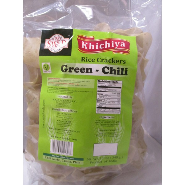 Swad Khichiya Green Chili Rice Crackers 14 OZ / 400 Gms