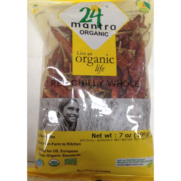 24 mantra Organic Red Chilli Whole 7 OZ / 200 Gms