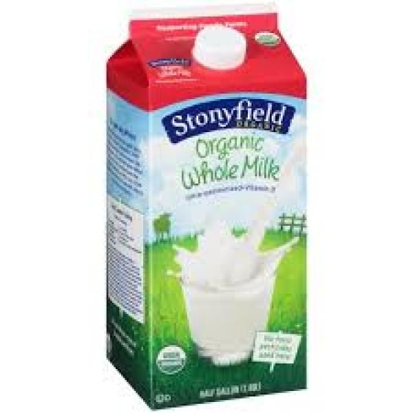 Stonyfield Organic Whole Milk - 1/2 Gallon
