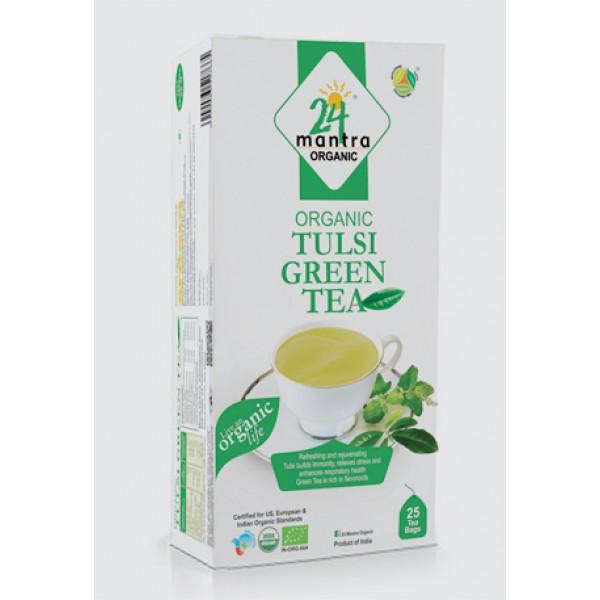 24 Mantra Organic Tulsi Green Tea 1.32oz/37.5gm 25 Bags
