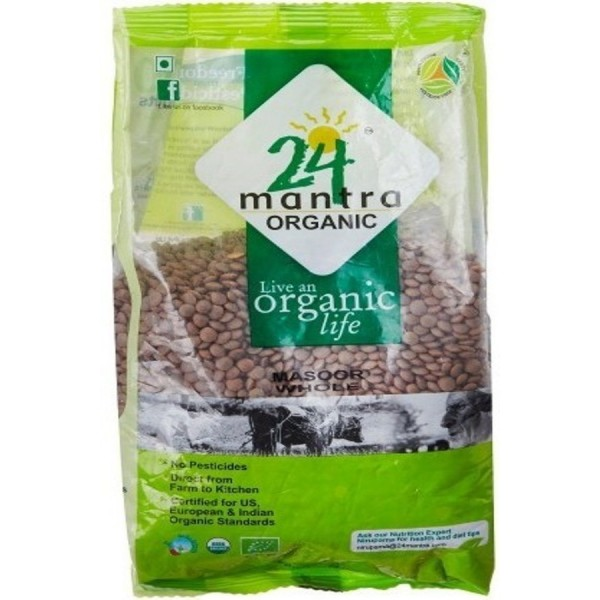 24 Mantra Organic Masoor Whole 4 Lb / 1.8 kg