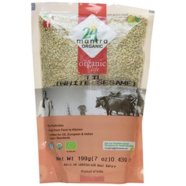 24 Mantra Organic White Sesame Til 7 Oz / 200 Gms